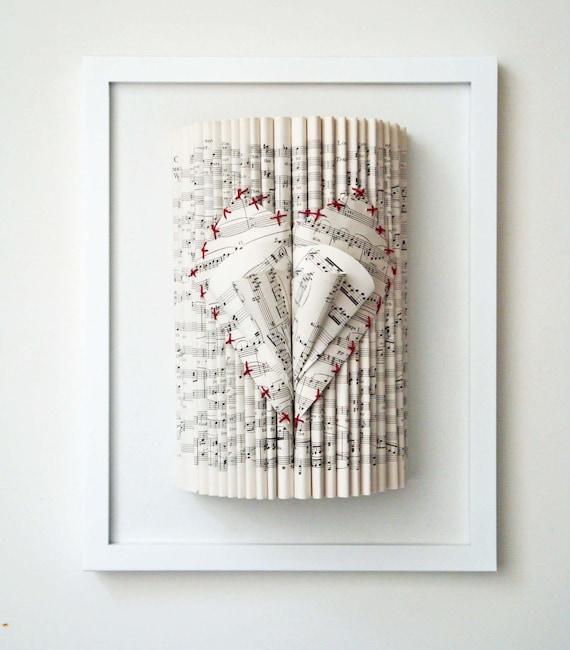 Music Sheet Art, Embroidered Book Sculpture