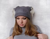 hand felted grey women's funny hat