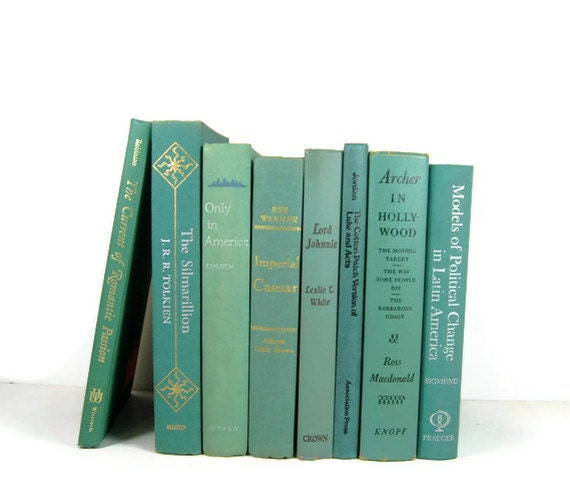 Instant book collection Aqua Turquoise Vintage Decorative Books for Wedding Decor and Photo Prop