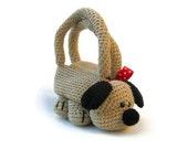 FREE SHIPPING - Crochet animal bag dog purse novelty stuffed animal purse cute children kids handbag Roger the dog