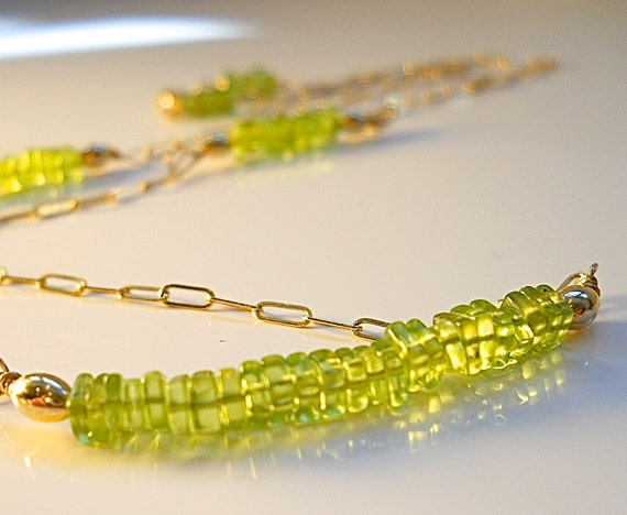 Extra Long Peridot, Birthstone Necklace, AAA Luxe Heishi Line Necklace, Gold Filled Chain, LEO, August Fashion Accessory