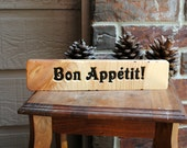 Bon Appétit Carved Wood Sign - Reclaimed Wood, Hand Painted - Bon Apetit