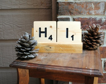 Letters H and I Wooden Tile Coaster and Tray Stand made from Reclaimed Wood
