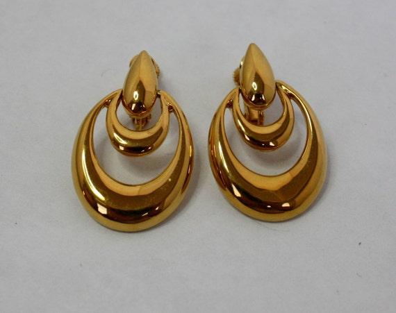 Vintage 80s Classic Earrings Napier Gold Door Knocker Clip w Screw Backs