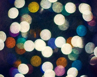 Strung Together- Fine Art Photography print 5x7 by Alana Gillett- Bokeh Christmas Lights Twinkle Multicolor Holiday Decor Wall Art