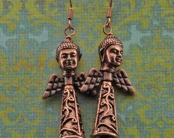 Copper Angel Dangle Earrings