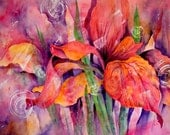 Abstract Watercolor Wild Iris Pink - Original Painting