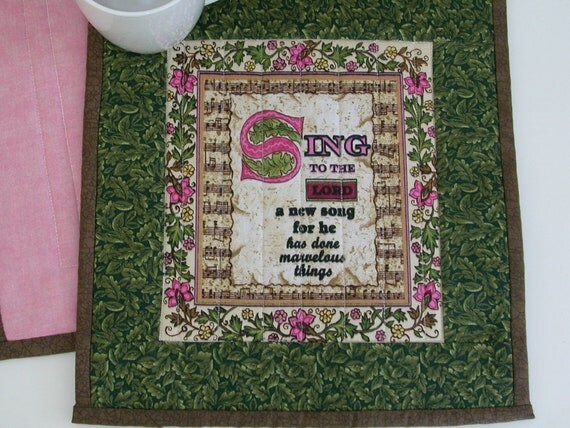 Quilted SCRIPTURE MUG RUG/ Candle Mat / Snack Mat  in Green, Pink & gold