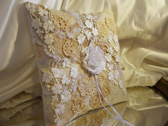 "Vintage Wedding Ring Bearer Pillow, handmade of vintage lace and ivory satin. ""READY TO SHIP"""