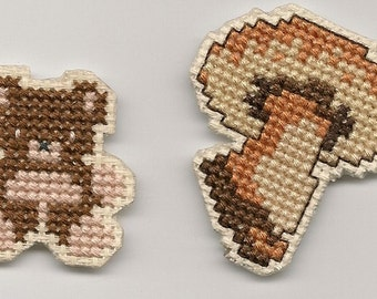 Cross Stitch, Teddy Bear and Mushroom Magnets Finished Completed