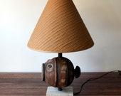 RESERVED Raymor Italian Pottery Fish Lamp Travertine Base - Mid Century Modern