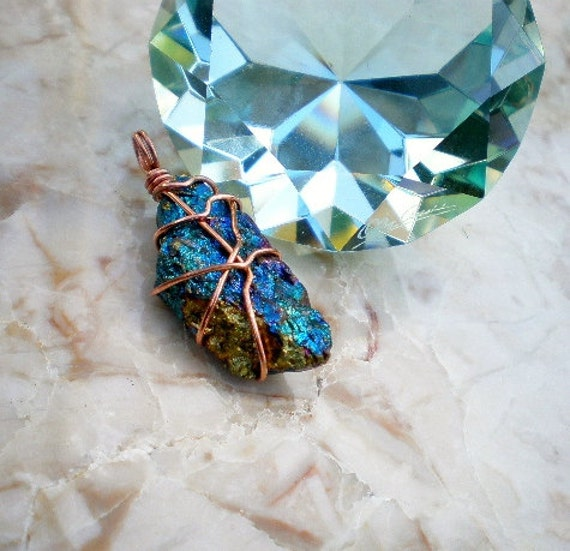 Chalcopyrite Peacock Ore/ Bornite Raw Stone Wire by IsamarML