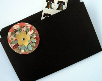 Coupon Organizer and File Folder Magnet in Chocolate Brown with Multi-Colored Flower for Recipes, Coupons, Photos and Business Cards