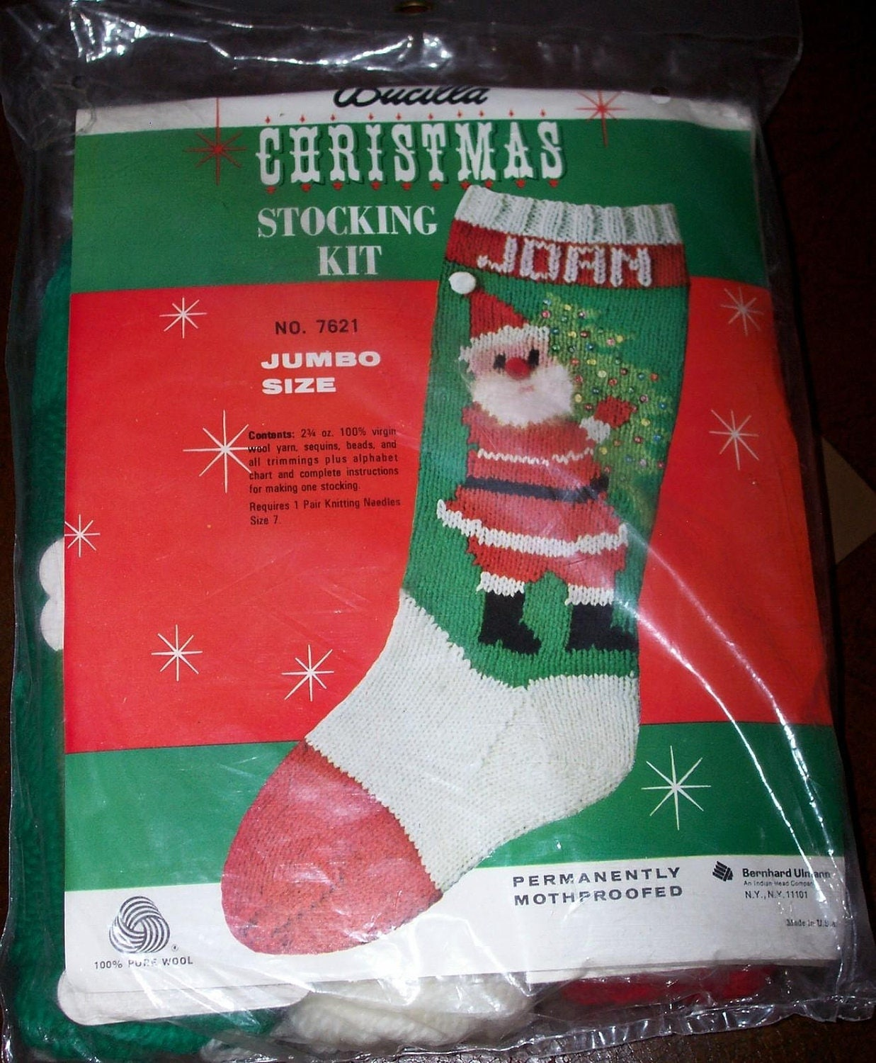 Knit Pattern For Christmas Stocking Kit : Bucilla Hand Knit Wool Knitted Christmas Stocking Santa Kit