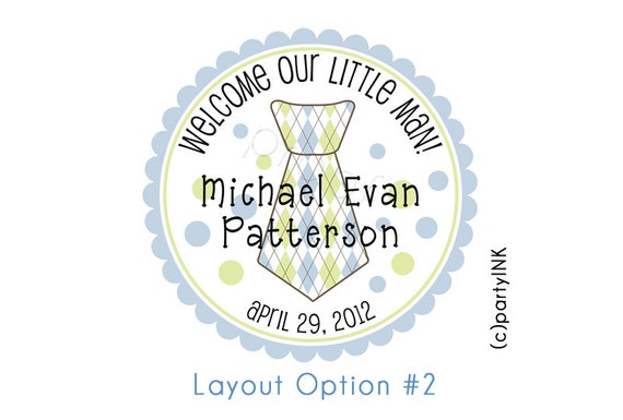The Little Man Patterned Tie Personalized Stickers - Baby Shower Favor Labels, New Baby - MANY Patterns and Colors Choice of Size
