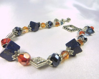 Blue Sodalite Stone Cubes and Red Orange Chili Pepper Swarovski Crystals Bracelet in  in Silver with charms
