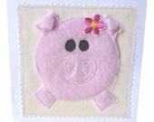 Cute Pig  applique / textile card