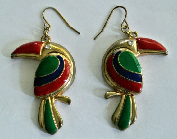 Vintage Toucan Enamel Earrings