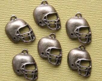 8 Football Helmet Charms Antique Bronze Tone - BC493