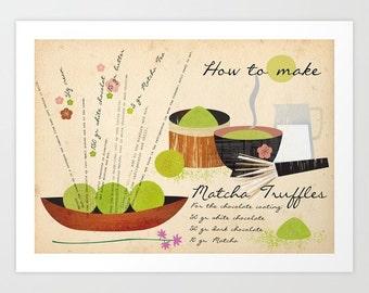 How to make Matcha Truffles-art print