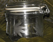 etched cannabis pixie/fairy on air tight glass jar