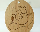 Wood Yoga Ganesh Ornament Laser Engraved