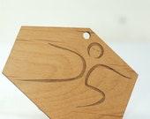 Wood Yoga Warrior II Pose Ornament Laser Engraved