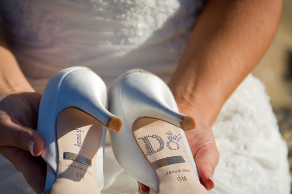 Diamond Ring I DO Wedding Shoe Stickers in Silver