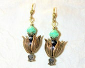 exotic beaded earrings - unique green brown gold - high fashion