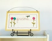 15% off baby nursery decor, yellow word art, precious, pastel flower garden, girls room, spring, READY TO SHIP by mamableudesigns