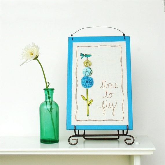 bird decor for nursery, decorative blue word art, child's room decor, garden embroidery READY TO SHIP by mamableudesigns on etsy