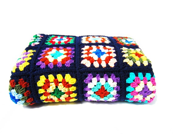 Vintage Granny Square Crochet Blanket - Blue Multi-Color Rainbow Afghan