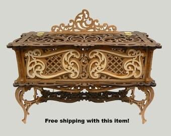 Exquisite Victorian Style Fretwork Heirloom Box/Glove Box/Jewelry box/Trinket Box/Keepsake Box