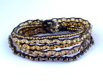 Brown Gold Wrap Bracelet