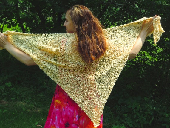 Shawl, Hand Knit from Cotton