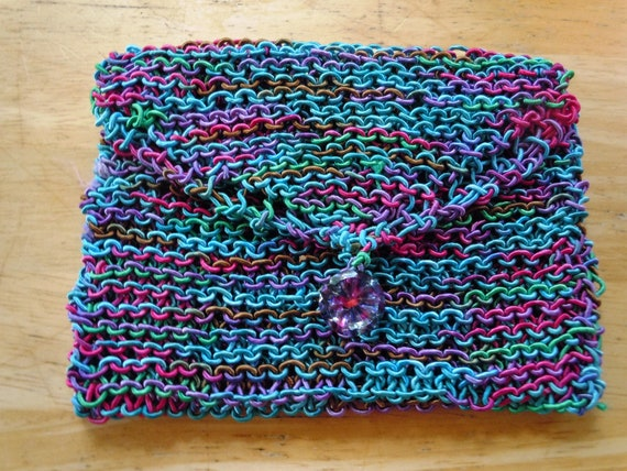 Items similar to Hand Knit Clutch or Cosmetic Bag on Etsy