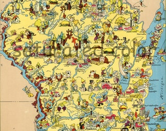 Wisconsin Map ORIGINAL 9 x 13 Vintage 1930s Antique Picture Map - Ruth Taylor White - Madison Eau Claire Chippewa Falls Racine Souvenir