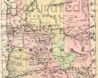 Arizona Map - ORIGINAL 1895 Antique Map - Vintage Map of Arizona - phoenix - scottsdale - tucson - tempe - mesa