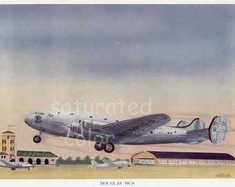Vintage Airplane Print -  Douglas DC4 - Pacific Western Airlines - WWII - Lithograph - Aeroplane