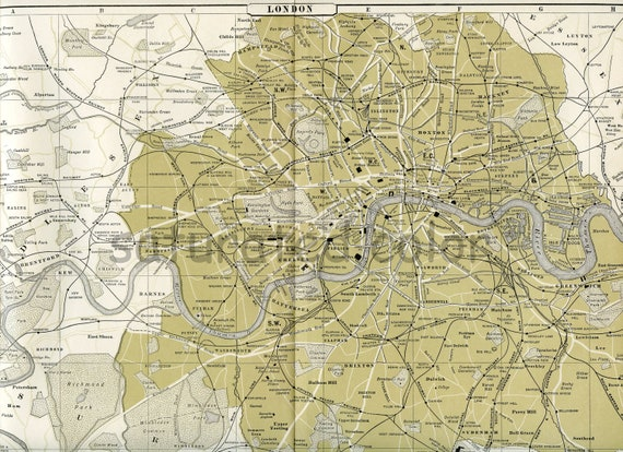London England Map -  Antique City of London Map - Original 1895 Map London - Wonderful Landmarks - Vintage London