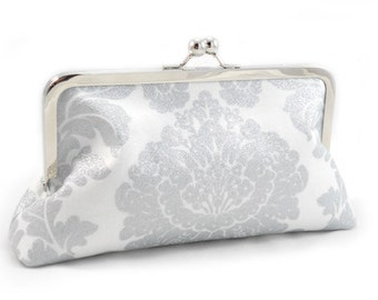 Bride's White Glitter Damask, Tiffany Lining - Large Clutch