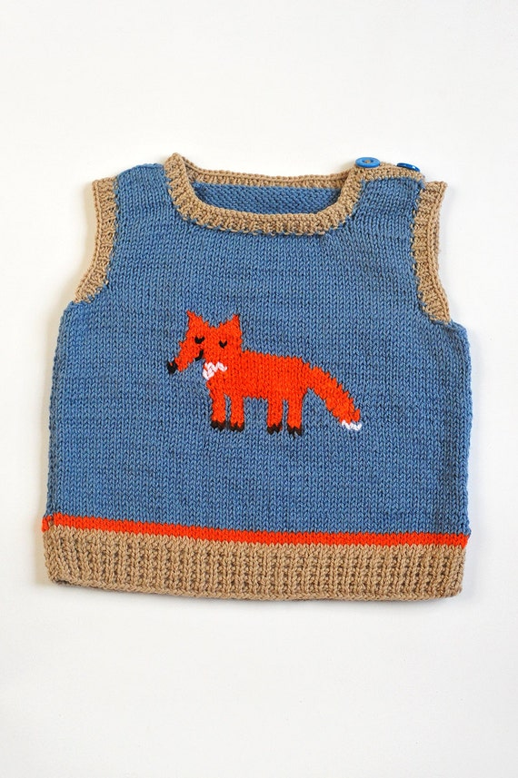 Boys Vest with Fox Knitted Tank Top Slipover V neck Blue and Brown Beige Taupe Orange Merino wool warm winter knitting 2-3 T