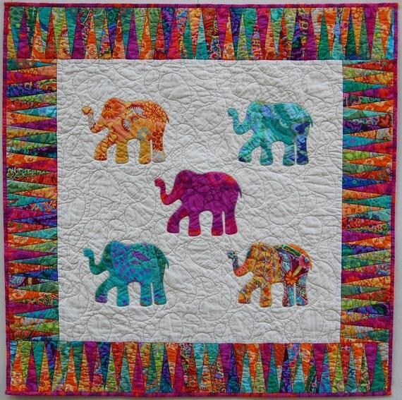 Bright Hand Appliqued Elephant Quilt