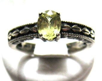Canary Yellow Natural Sapphire Sterling Silver Ring Patterned Band affordable engagement handmade size 4 5 6 7 8 9 10 1/2 fine jewelry 14kg