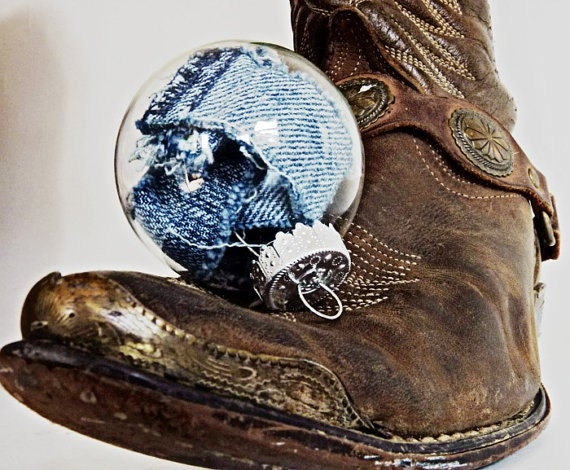 Christmas Ornament Upcycled Clothing Blue Jean Denim by TrashN2Tees
