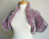 Shrug, Grey and Pink , Fall and Winter Collection, Chunky Knits,  Unique Design Shrug,  Cardigan, Jacket, OOAK