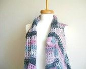 Mohair Vest By Crochetlab, Asymmetric Vest, Design Your Own Vest , OOAK Design, Express Shipping, Grey, black and puple tones