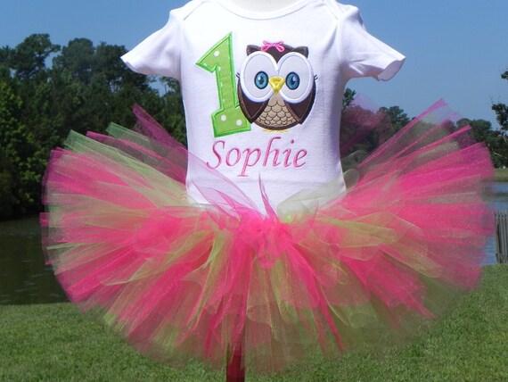 Owl Birthday Outfit - 1st Birthday Owl - Owl Birthday - Owl Tutu Outfit - w/Child's Name - SHORT SLEEVES