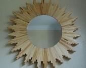"Wood Starburst Mirror - 21.5"" diameter"