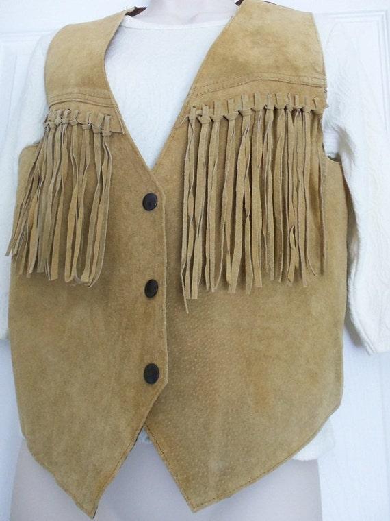 Vintage Fringe Vest - Learsi Leather Suede Small